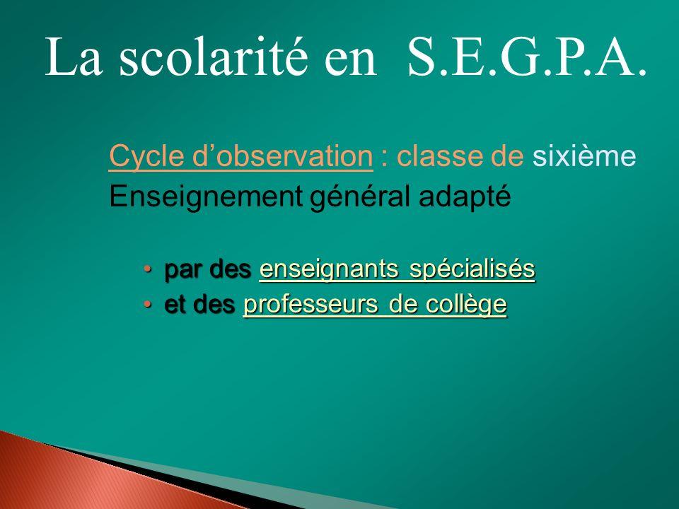 La scolarité en S.E.G.P.A. Cycle d'observation : classe de sixième