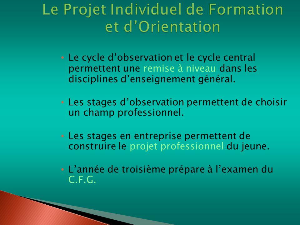 Le Projet Individuel de Formation et d'Orientation