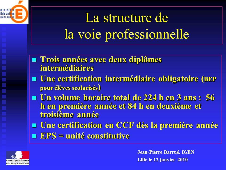 La structure de la voie professionnelle