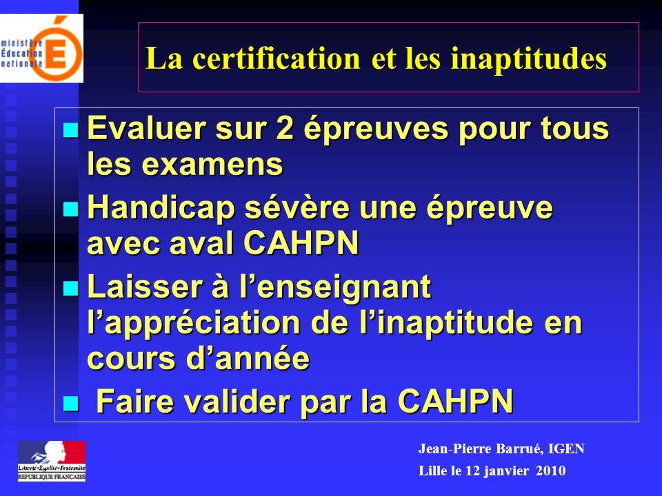 La certification et les inaptitudes
