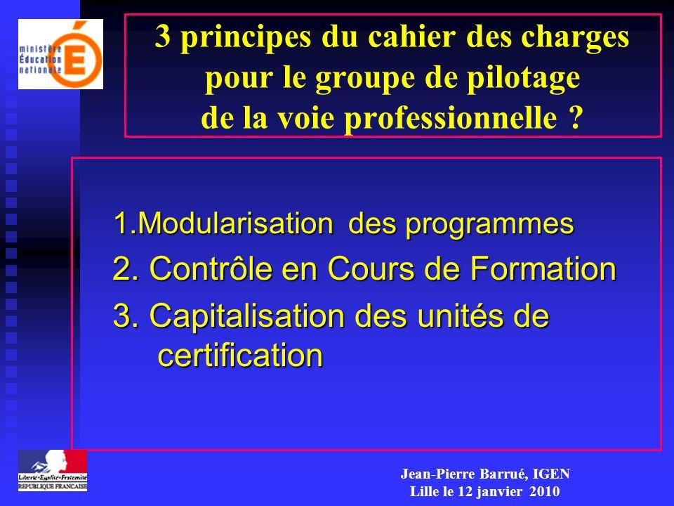 3 principes du cahier des charges pour le groupe de pilotage de la voie professionnelle