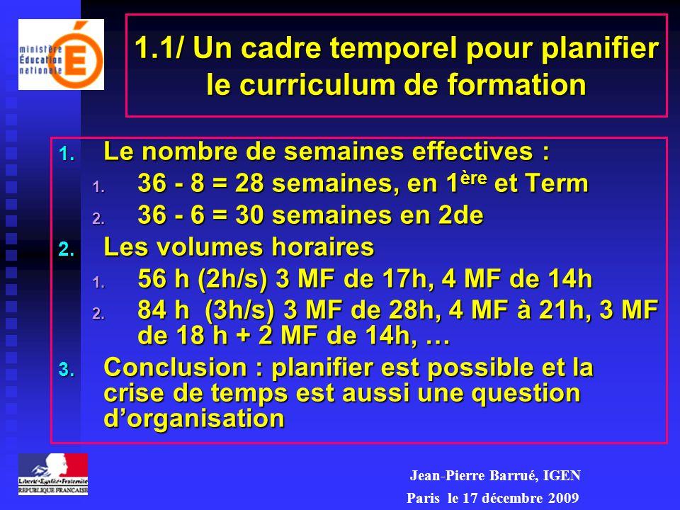 1.1/ Un cadre temporel pour planifier le curriculum de formation