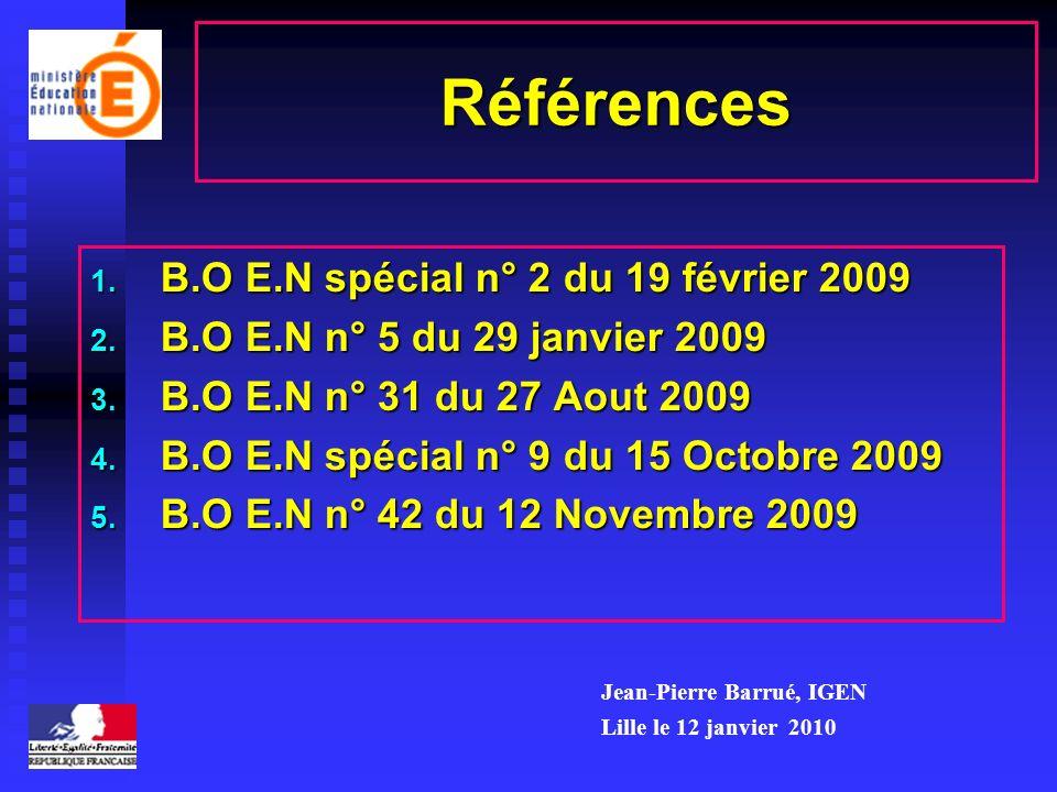 Références B.O E.N spécial n° 2 du 19 février 2009