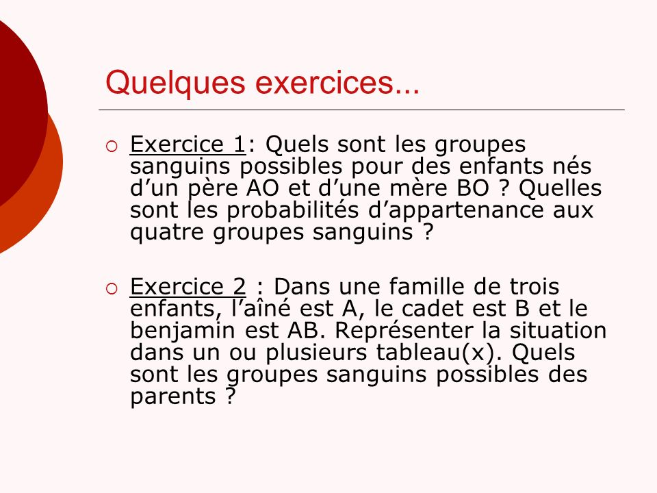 Quelques exercices...
