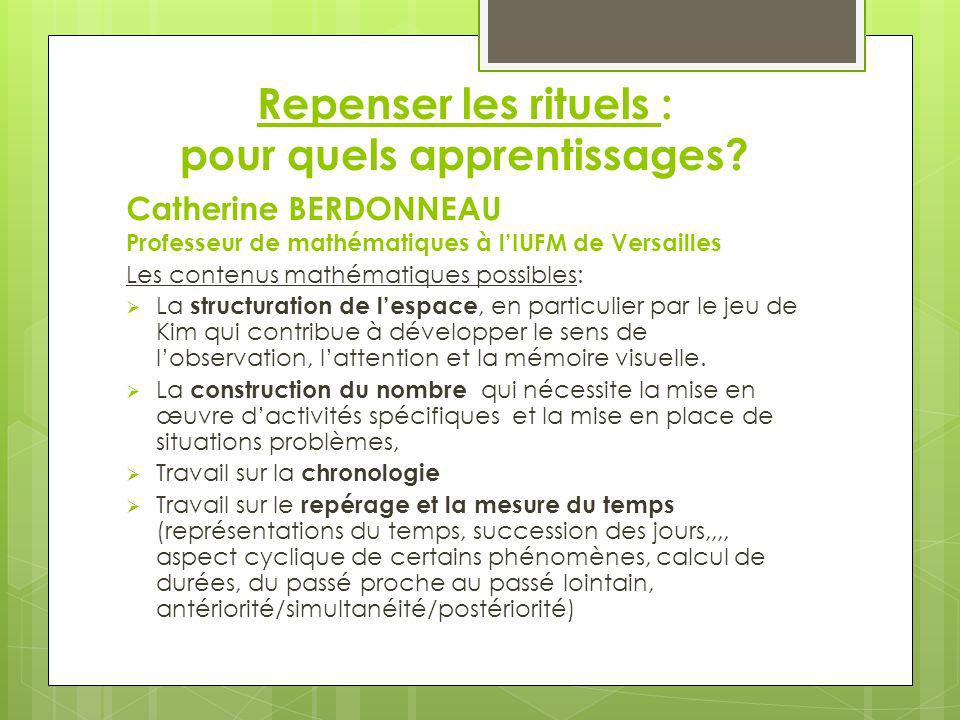 Repenser les rituels : pour quels apprentissages