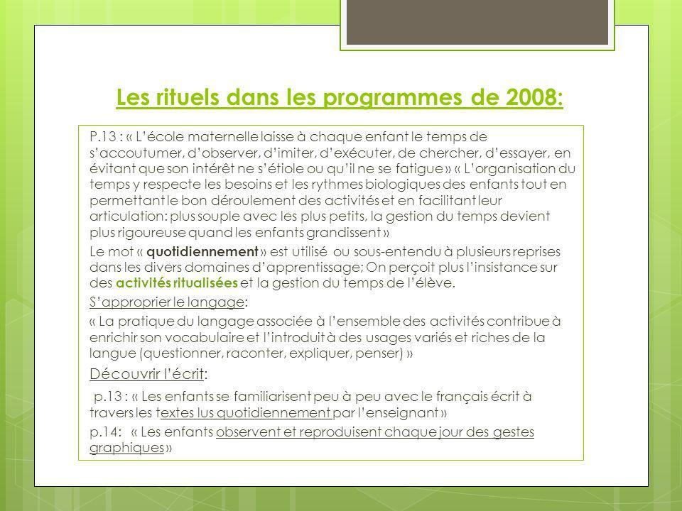 Les rituels dans les programmes de 2008: