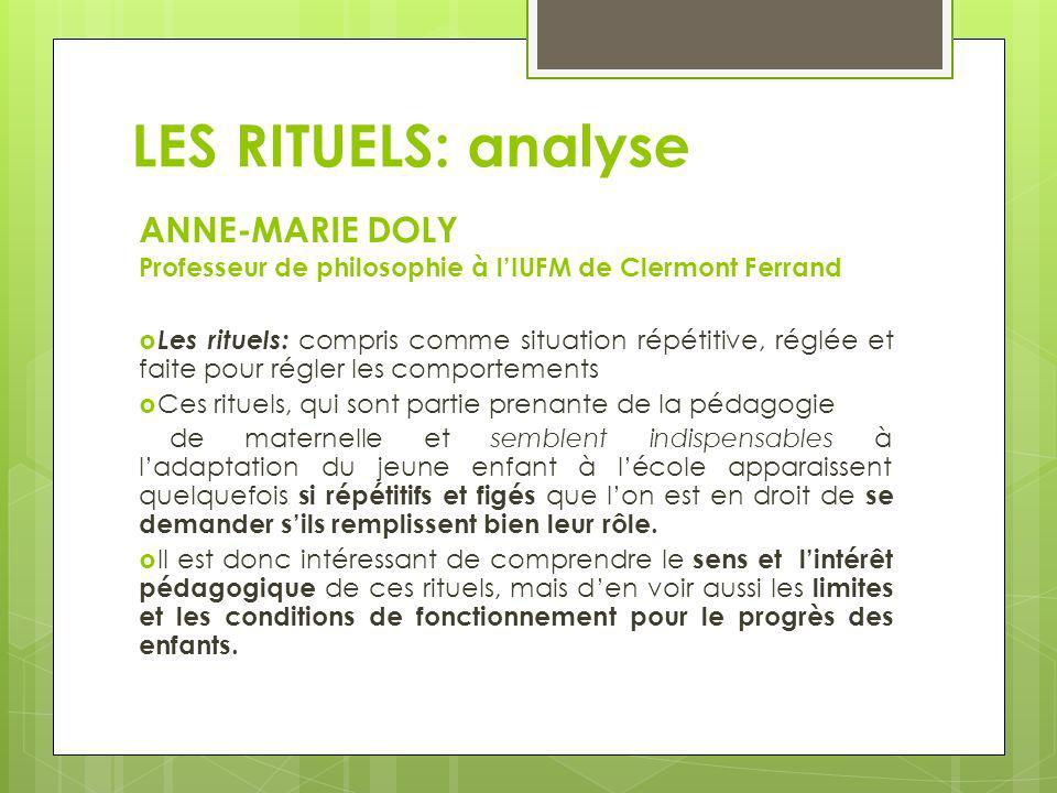 LES RITUELS: analyseANNE-MARIE DOLY Professeur de philosophie à l'IUFM de Clermont Ferrand.