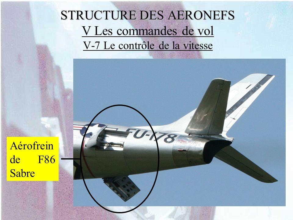 STRUCTURE DES AERONEFS V Les commandes de vol V-7 Le contrôle de la vitesse