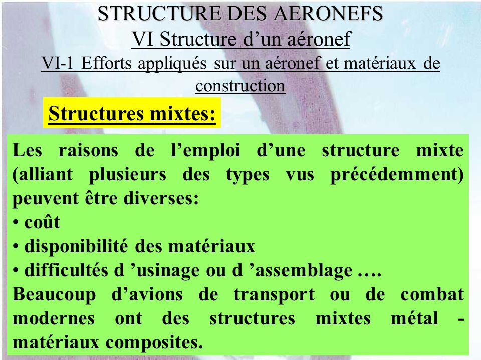 STRUCTURE DES AERONEFS VI Structure d'un aéronef VI-1 Efforts appliqués sur un aéronef et matériaux de construction