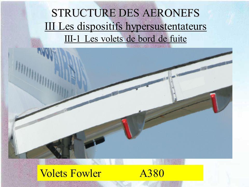 STRUCTURE DES AERONEFS III Les dispositifs hypersustentateurs III-1 Les volets de bord de fuite