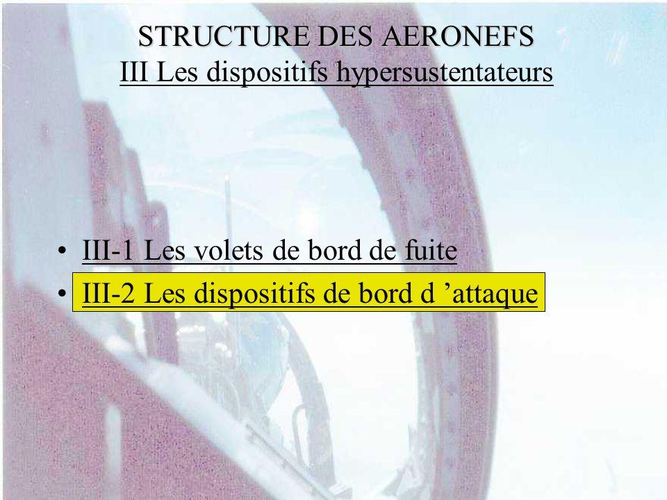 STRUCTURE DES AERONEFS III Les dispositifs hypersustentateurs