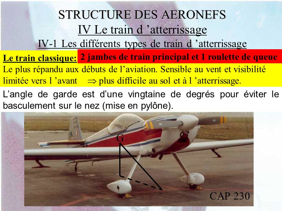 STRUCTURE DES AERONEFS IV Le train d 'atterrissage IV-1 Les différents types de train d 'atterrissage