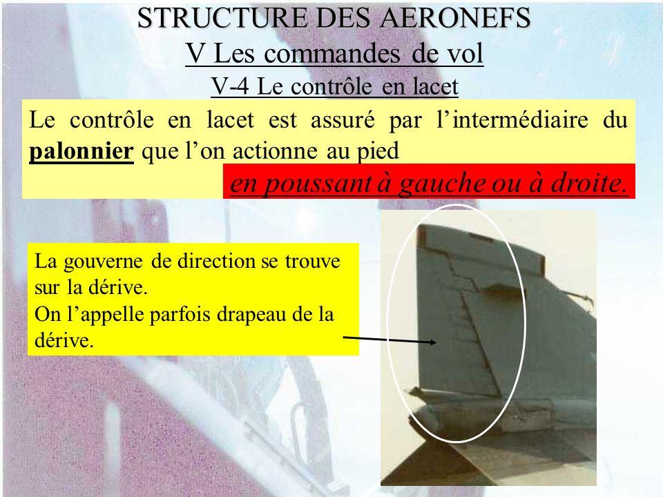 STRUCTURE DES AERONEFS V Les commandes de vol V-4 Le contrôle en lacet