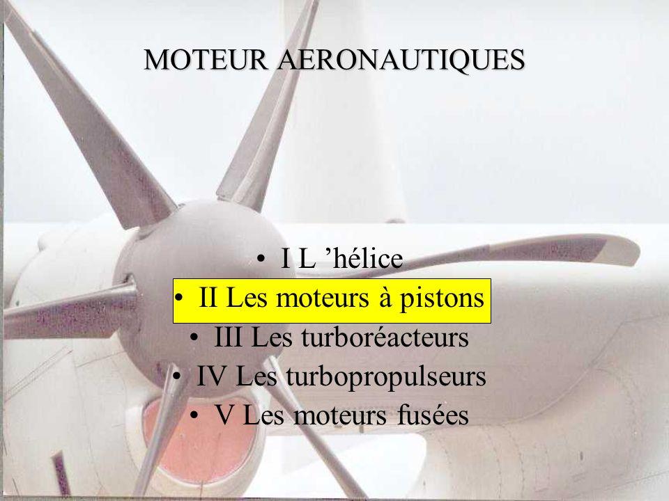 II Les moteurs à pistons III Les turboréacteurs