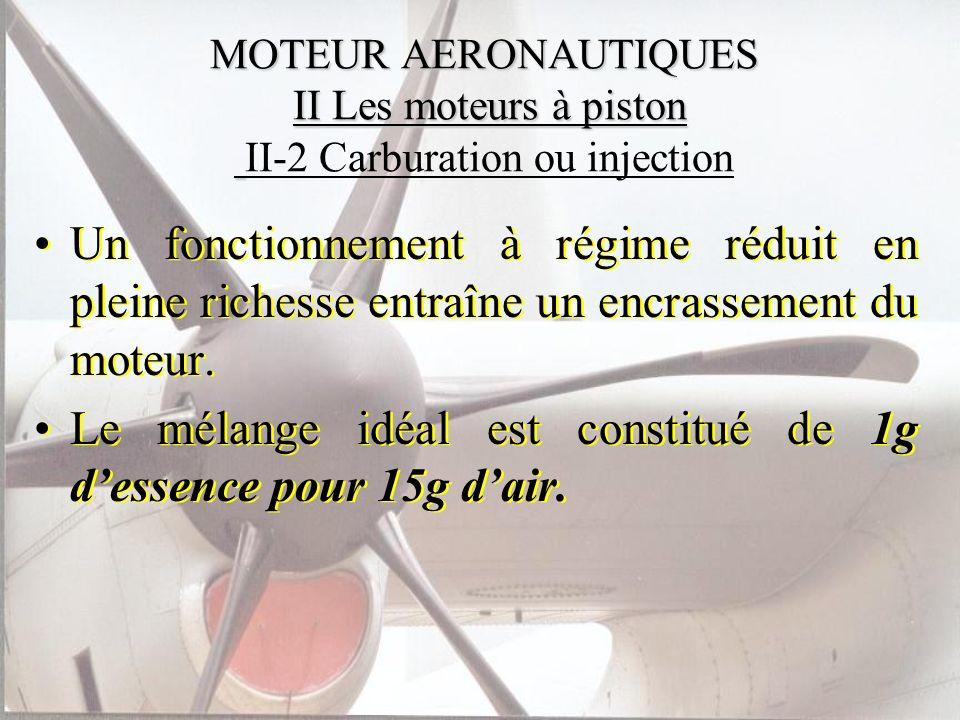 Le mélange idéal est constitué de 1g d'essence pour 15g d'air.