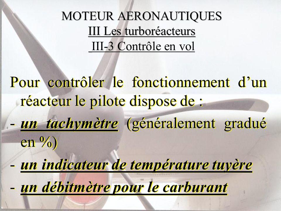 MOTEUR AERONAUTIQUES III Les turboréacteurs III-3 Contrôle en vol