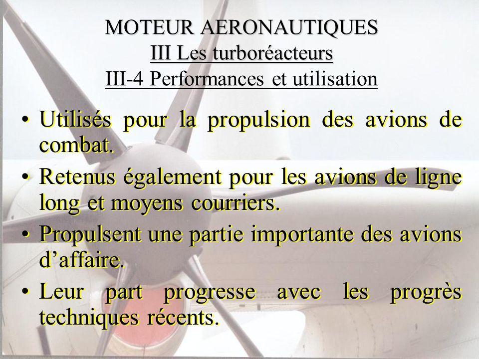 Utilisés pour la propulsion des avions de combat.