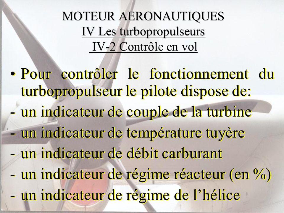 MOTEUR AERONAUTIQUES IV Les turbopropulseurs IV-2 Contrôle en vol