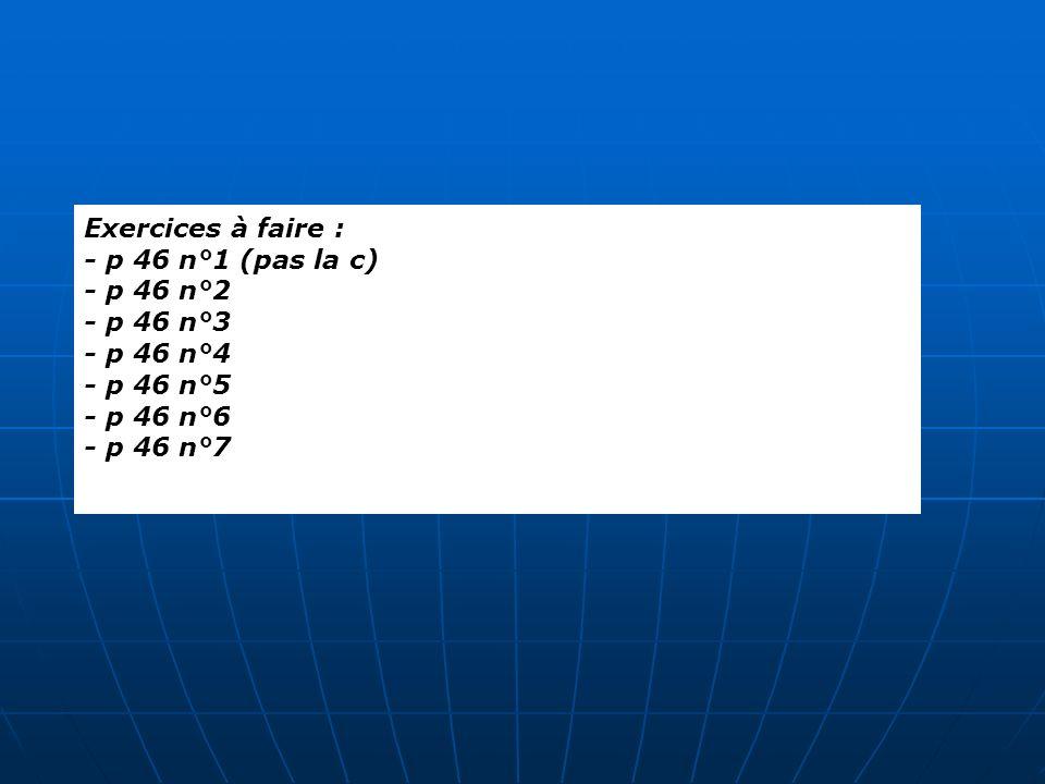 Exercices à faire : - p 46 n°1 (pas la c) - p 46 n°2. - p 46 n°3. - p 46 n°4. - p 46 n°5. - p 46 n°6.