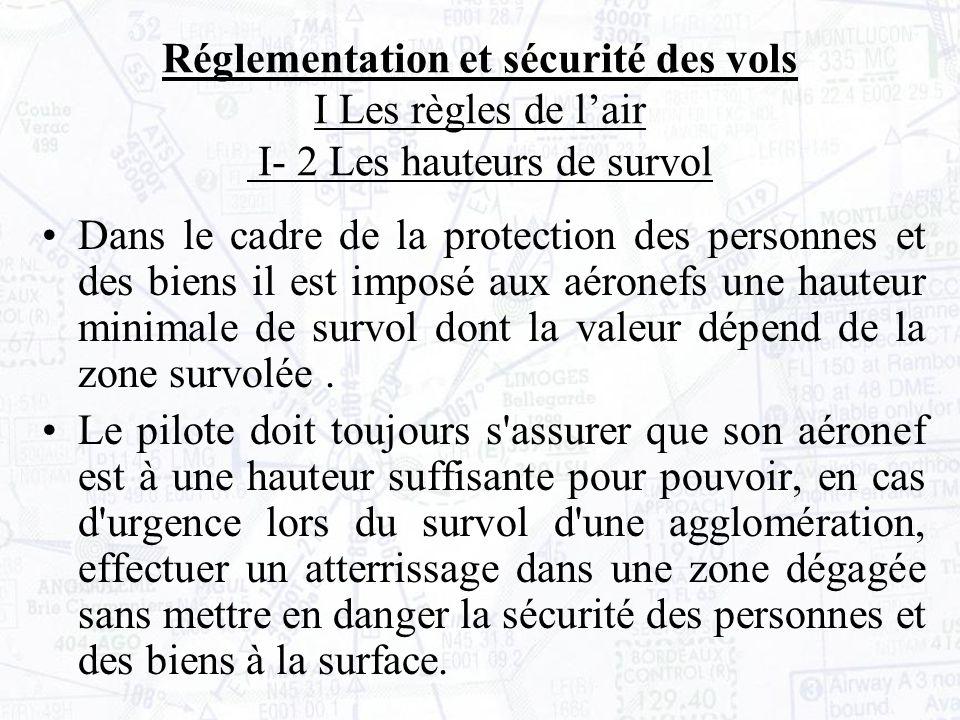 Réglementation et sécurité des vols I Les règles de l'air I- 2 Les hauteurs de survol