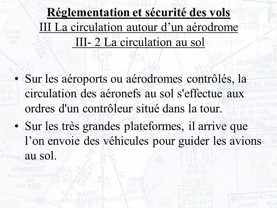 Réglementation et sécurité des vols III La circulation autour d'un aérodrome III- 2 La circulation au sol