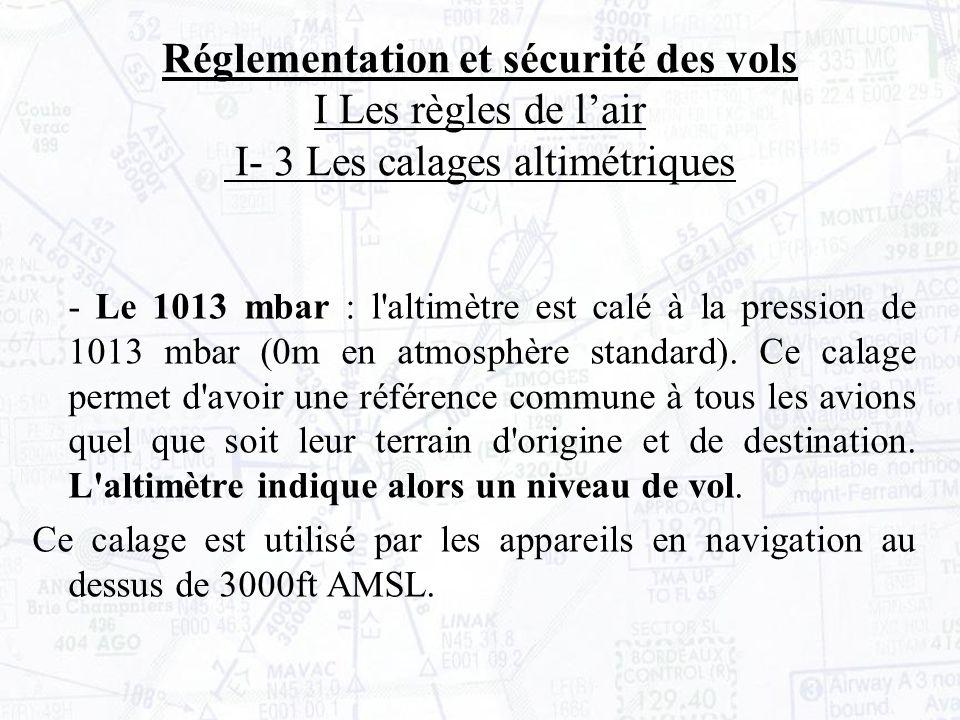 Réglementation et sécurité des vols I Les règles de l'air I- 3 Les calages altimétriques