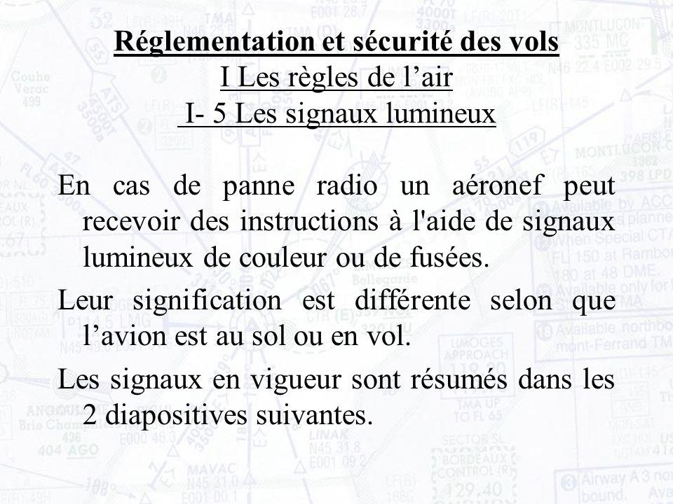 Réglementation et sécurité des vols I Les règles de l'air I- 5 Les signaux lumineux