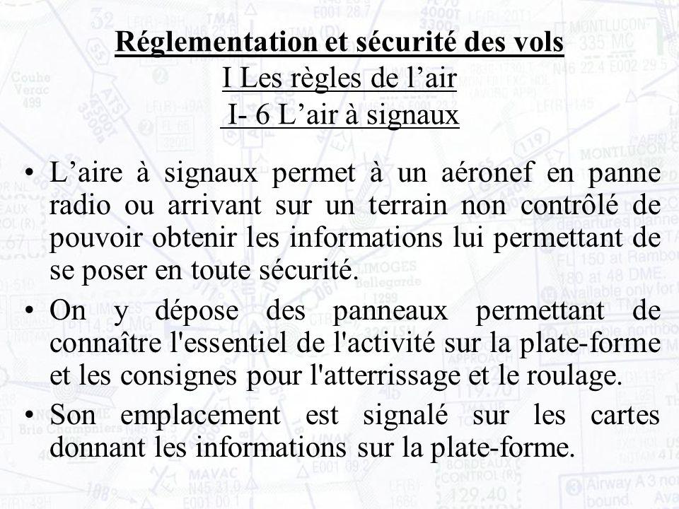 Réglementation et sécurité des vols I Les règles de l'air I- 6 L'air à signaux