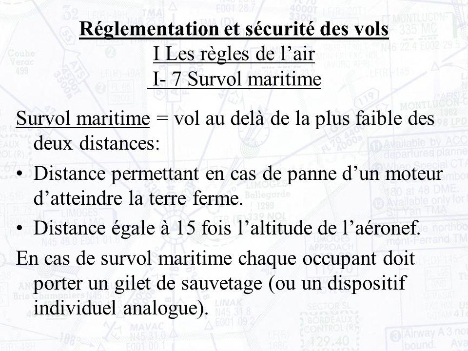 Réglementation et sécurité des vols I Les règles de l'air I- 7 Survol maritime