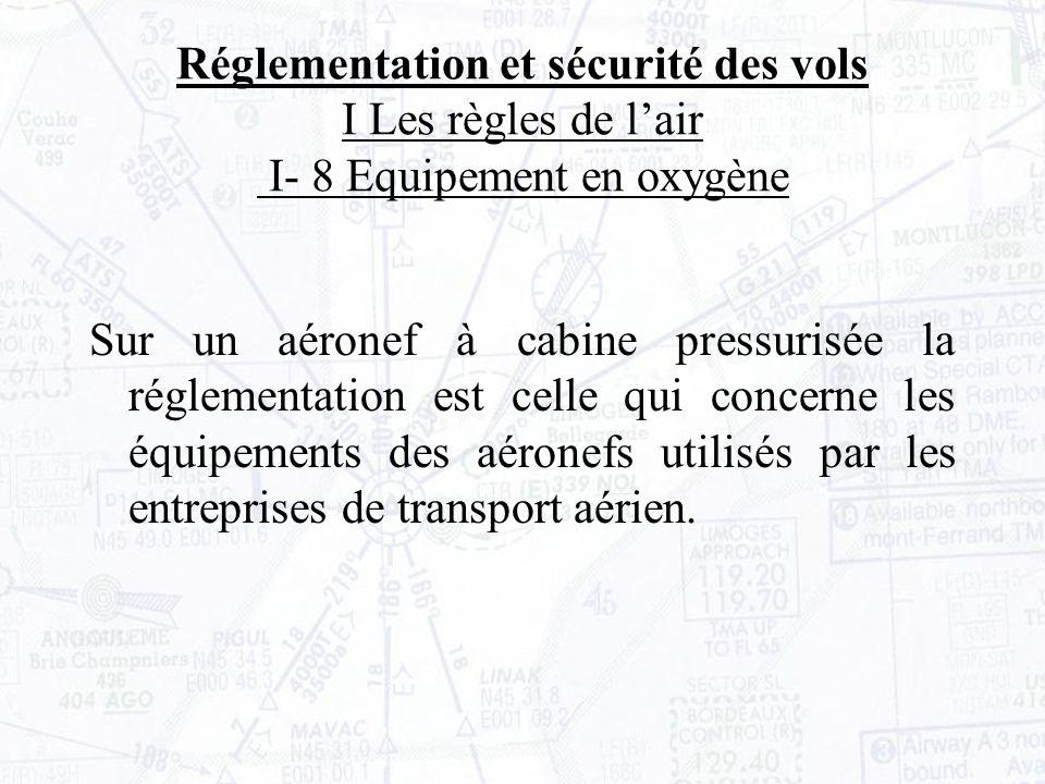 Réglementation et sécurité des vols I Les règles de l'air I- 8 Equipement en oxygène