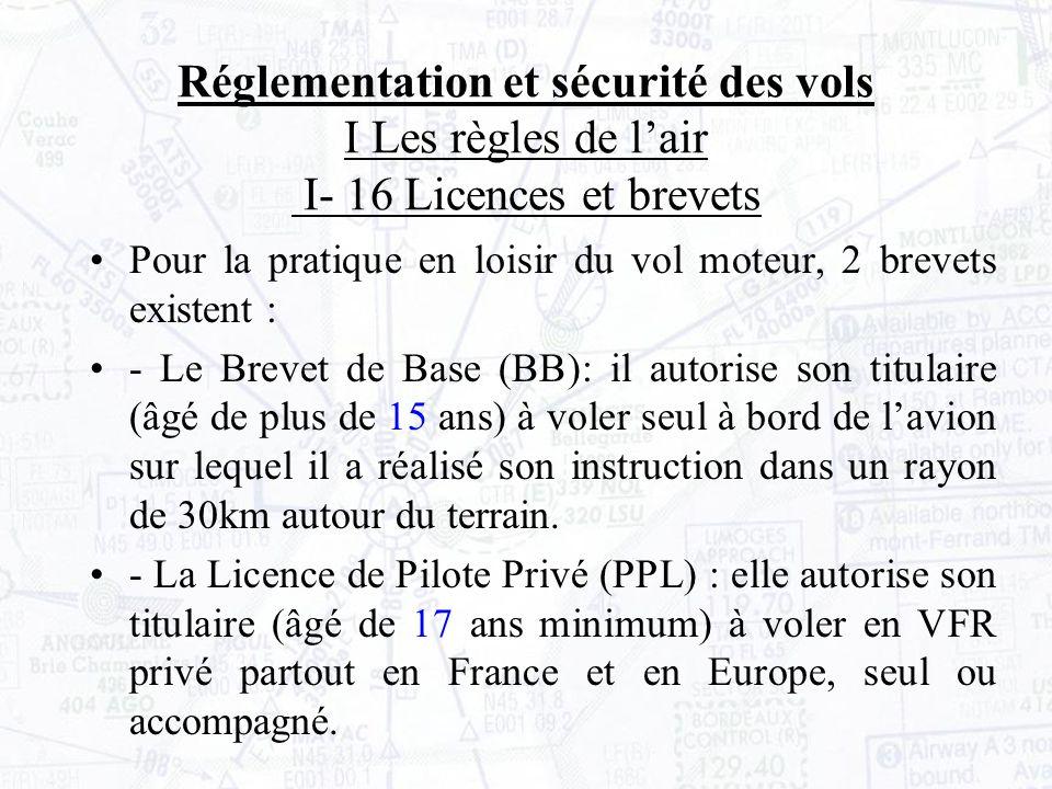 Réglementation et sécurité des vols I Les règles de l'air I- 16 Licences et brevets