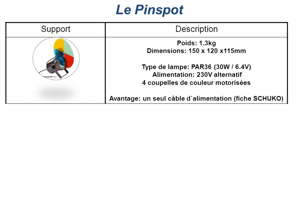 Le Pinspot Support Description Poids: 1.3kg