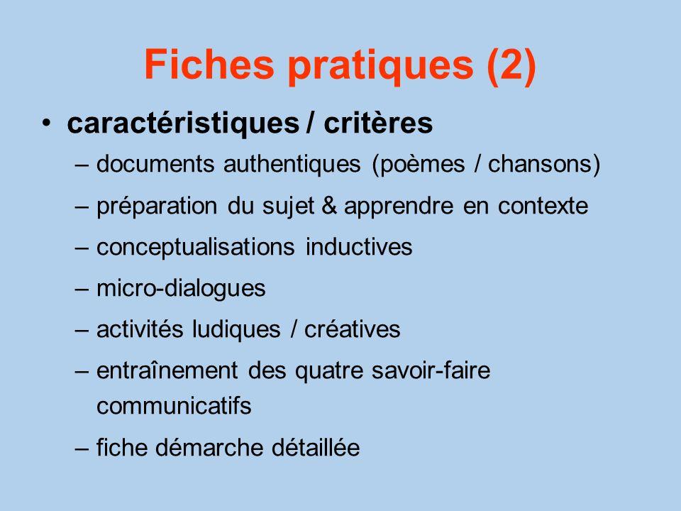 Fiches pratiques (2) caractéristiques / critères