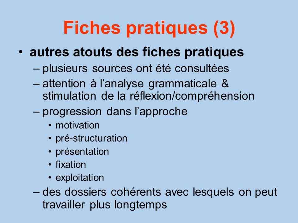Fiches pratiques (3) autres atouts des fiches pratiques