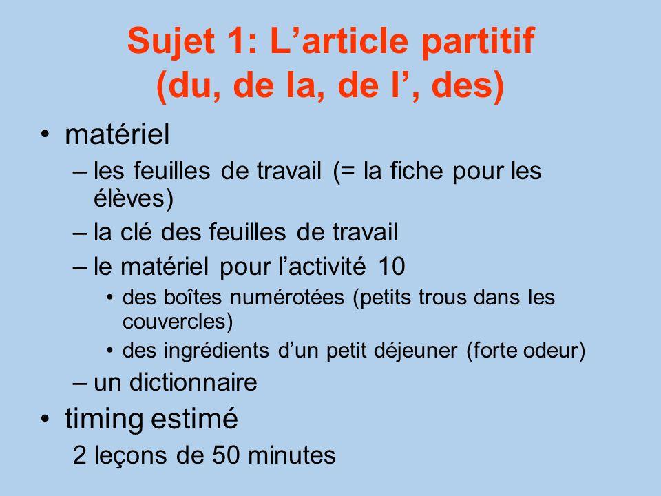 Sujet 1: L'article partitif (du, de la, de l', des)