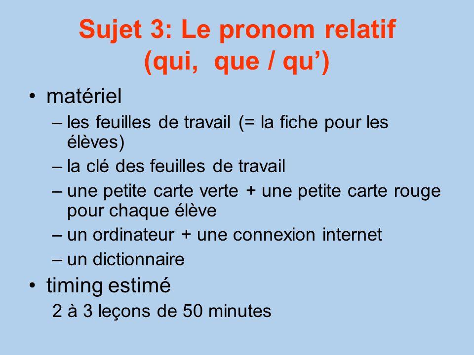 Sujet 3: Le pronom relatif (qui, que / qu')