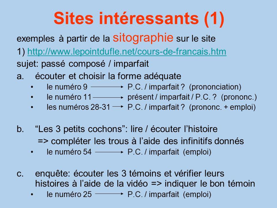 Sites intéressants (1) exemples à partir de la sitographie sur le site