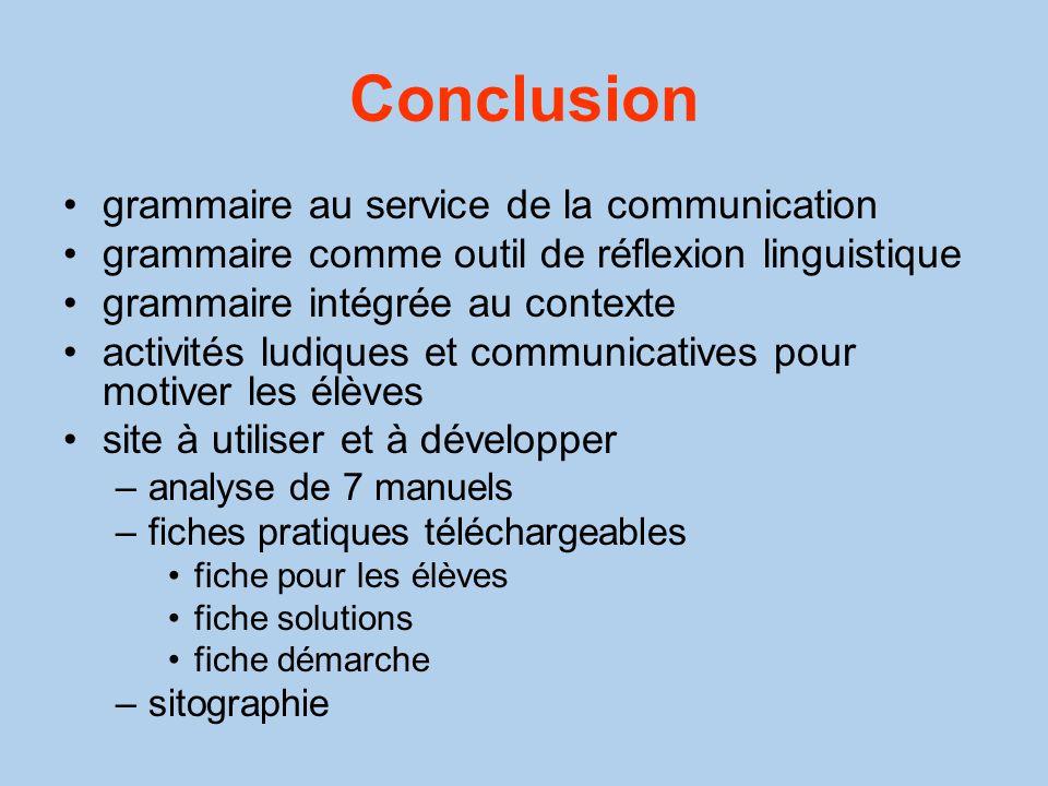 Conclusion grammaire au service de la communication