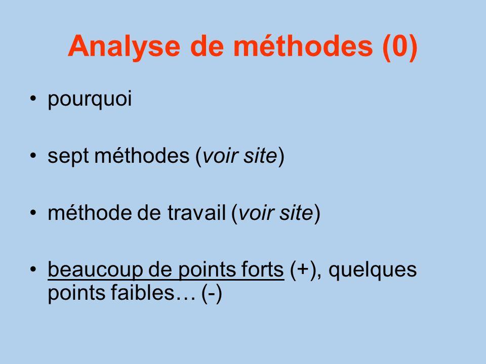Analyse de méthodes (0) pourquoi sept méthodes (voir site)
