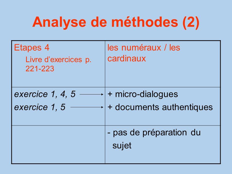 Analyse de méthodes (2) Etapes 4 les numéraux / les cardinaux