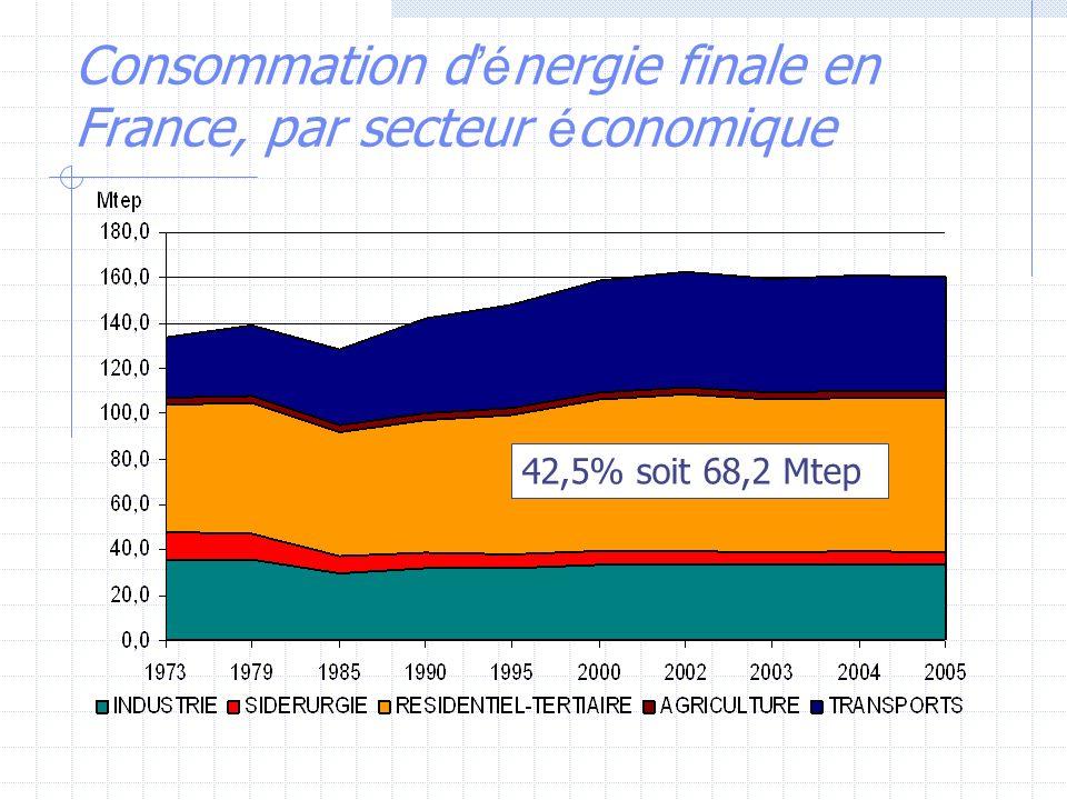 Consommation d'énergie finale en France, par secteur économique