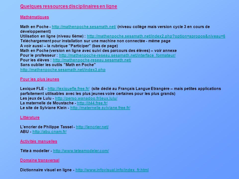 Quelques ressources disciplinaires en ligne