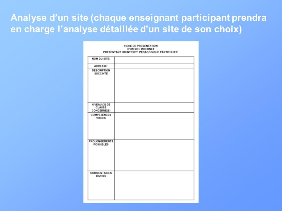 Analyse d'un site (chaque enseignant participant prendra en charge l'analyse détaillée d'un site de son choix)