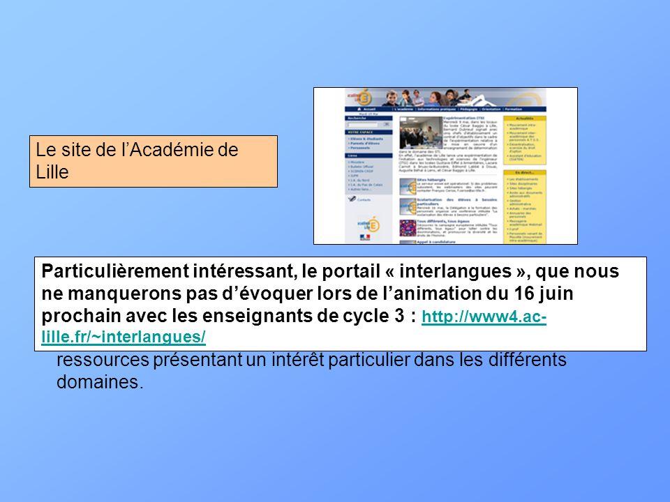 Le site de l'Académie de Lille