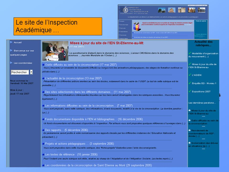 Le site de l'Inspection Académique …