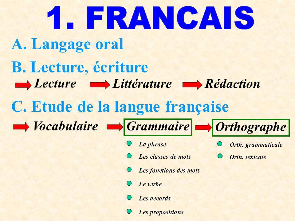 C. Etude de la langue française