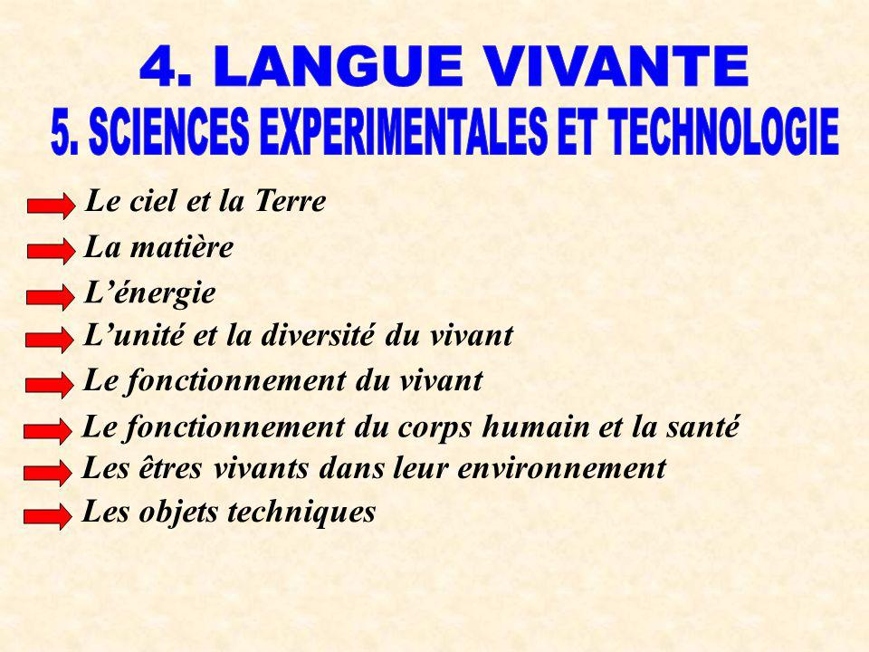 5. SCIENCES EXPERIMENTALES ET TECHNOLOGIE