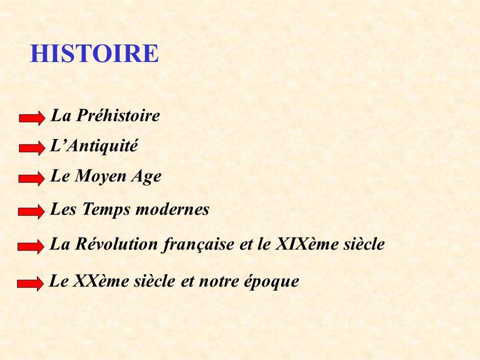 HISTOIRE La Préhistoire L'Antiquité Le Moyen Age Les Temps modernes