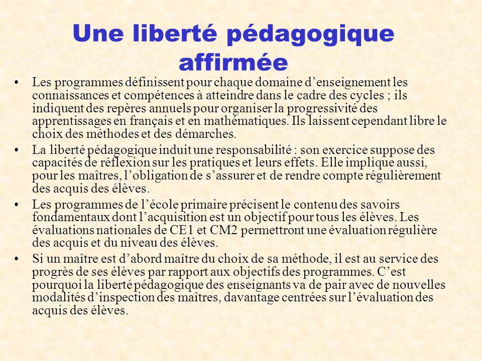 Une liberté pédagogique affirmée
