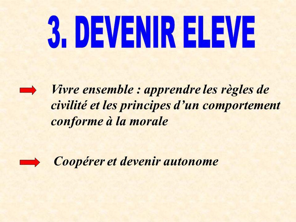 3. DEVENIR ELEVE Vivre ensemble : apprendre les règles de civilité et les principes d'un comportement conforme à la morale.